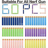 WISHKEY Bullets for Toy Guns Set of 60 Pcs Soft Foam Darts for Blaster Blaze Storm Strike Elite Gun Target Game for Kids