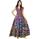New Vaishnavi Collection Women's Cotton Midi Jaipuri Print Long Maxi Dress (Multicolour, Free Size)