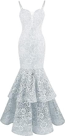 Angel-fashions Damen Spaghetti-B/ügel Spitze R/üsche Meerjungfrau Hochzeitskleid