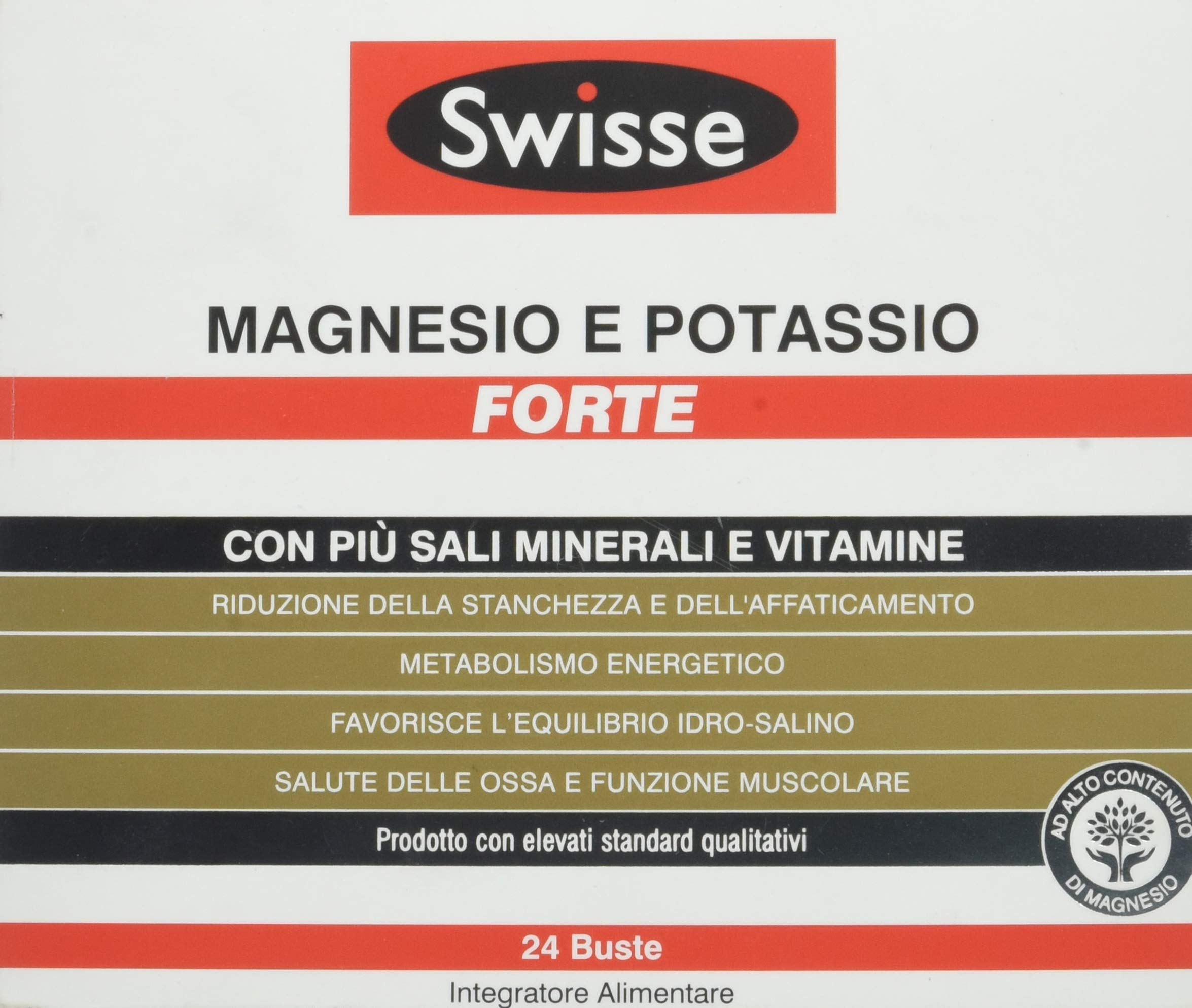 Swisse Magnesio e Potassio Forte, Integrazione di Sali minerali, 24 Bustine 1 spesavip