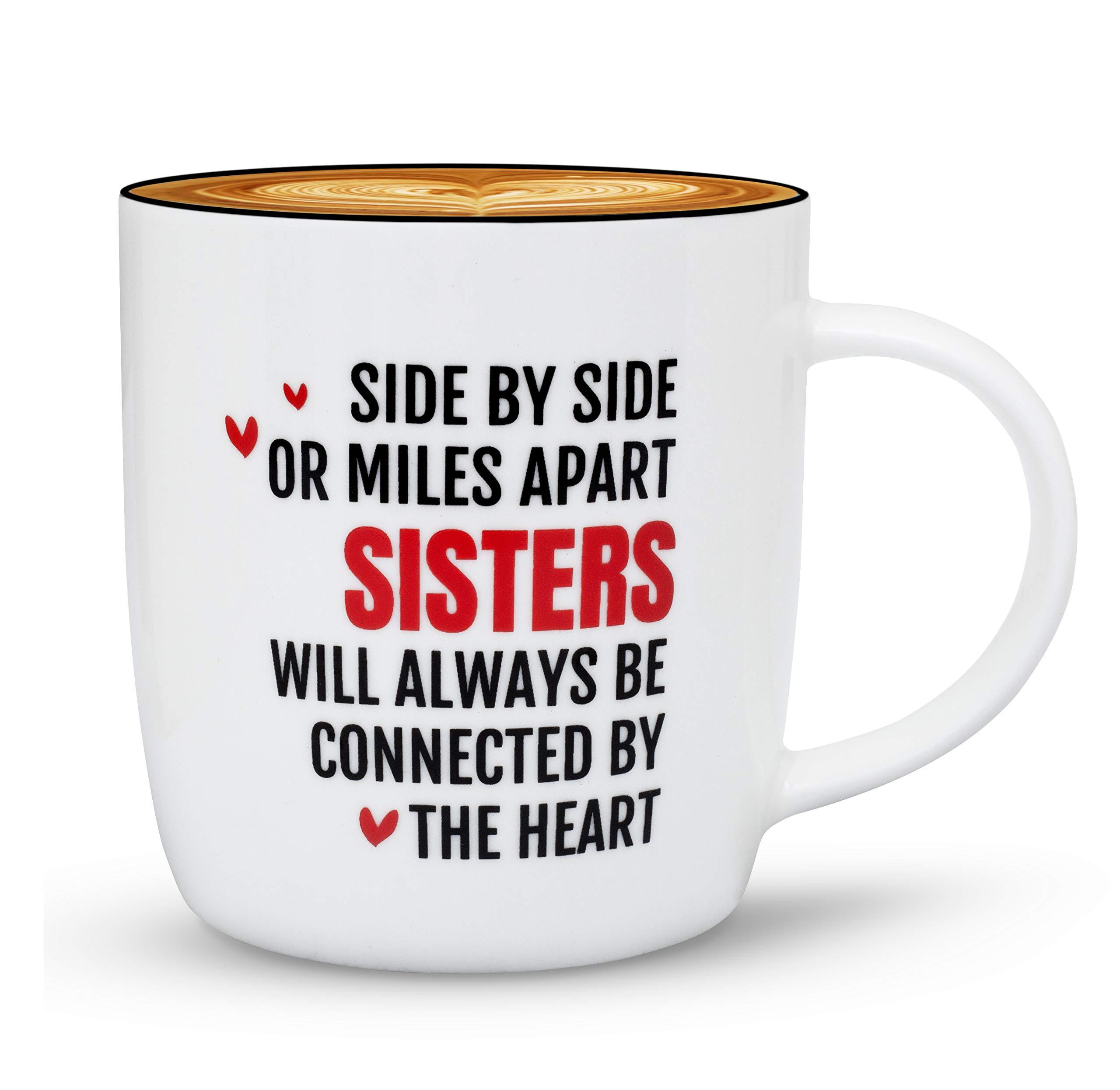 Gifffted Tasse Beste Schwester, Geschenkideen Für Sie, Lustige Geschenkideen Für Schwester Für Geburtstag Geschenk, Teetasse, Becher Mit Spruch, Kaffeetasse 380 Ml, Side By Side Sisters