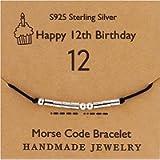 YooAi Morse Code Bracelet Happy Birthday Gifts for Girls Boys Sterling Silver Bracelet Birthday Gift Jewelry for 12th…
