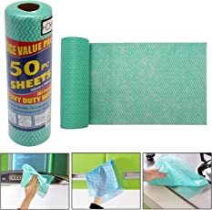 HOKIPO Microfiber Reusable Super Absorbent Cleaning Wipes, 250x300mm (Green, 3714) - Set of 50