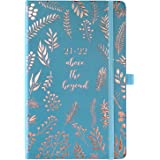 Amazon Brand - Eono Diary 2021-2022, Week to View Diary, from July 2021 to June 2022, Blue Leather Cover, Pen Loop, Back Pock