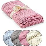 wometo Babydecke Kinderdecke Häkeldecke OekoTex 100% Baumwolle im Häkel-Look - rosa 70x100 cm für Jungen und Mädchen