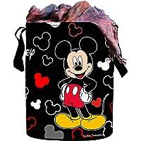 Kuber Industries Disney Print Round Waterproof Cotton Laundry Bag, Toy Storage, Laundry Basket Organizer 45 L (Black…