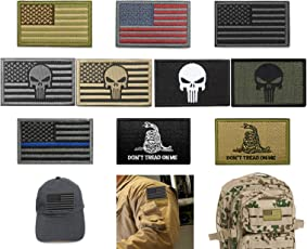 Bundle 10 Pieces US Flag Velcro Patch American Flag Punisher Velcro Patches Tactical Military Morale Patch Set