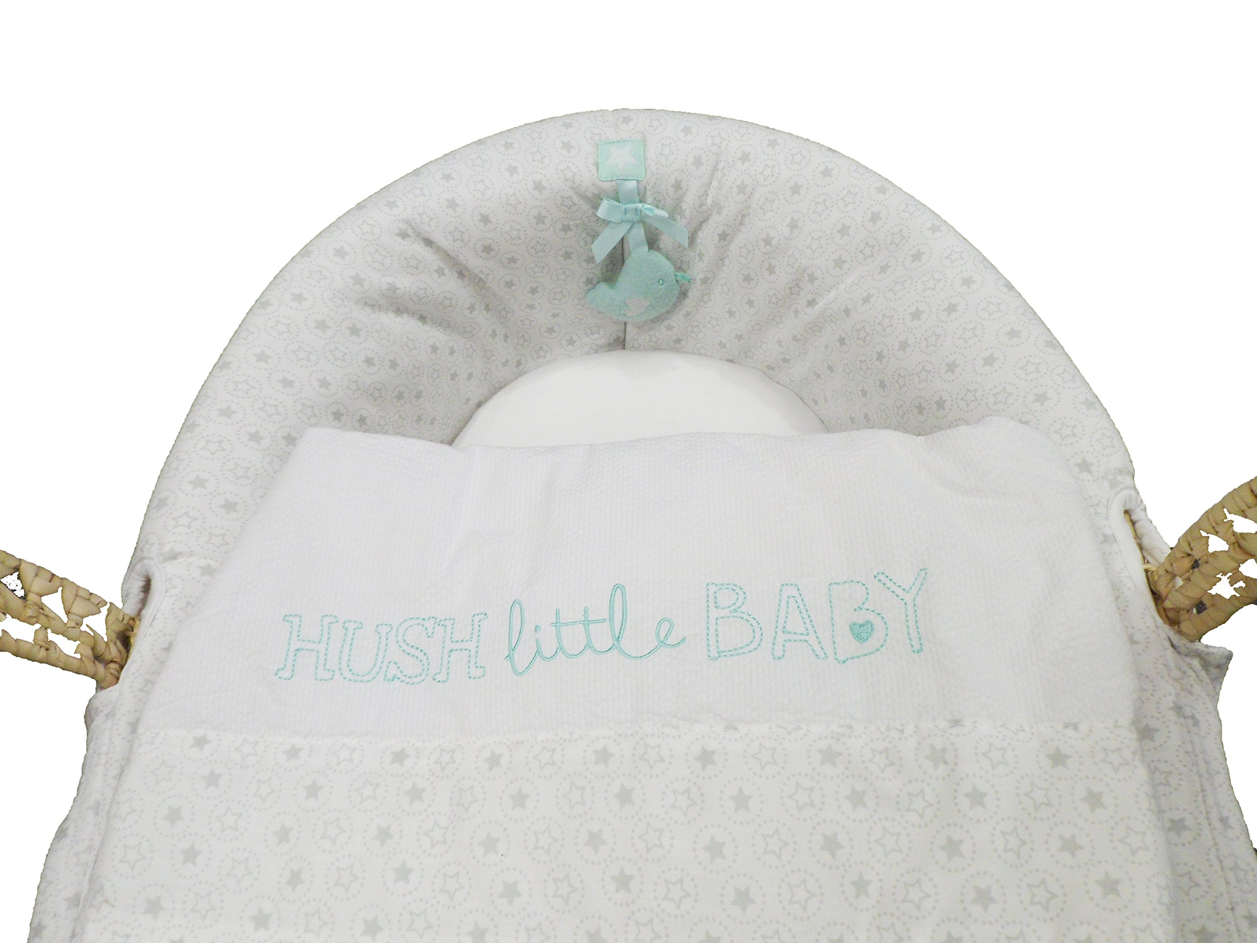 Natures Purest Hush Little Baby Palm Moses Basket  Dressed on a palm Moses basket, base measurement 70cm Padded dressing for added comfort Dressings are machine washable 2