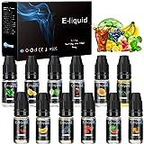 E-Líquido, 12 X 10mL E Liquido Vaper Sin Nicotina, E-Liquid VG50/PG50, Set E-Líquido Para Cigarrillos Electrónicos/E Shisha/E