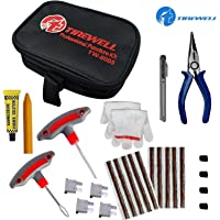 TIREWELL TW-5005 10 in 1 Universal Tubeless Tyre Puncture Kit Emergency Flat Tire Puncher Repair Patch Tool Bag for Car Bike SUV and Motorcycle