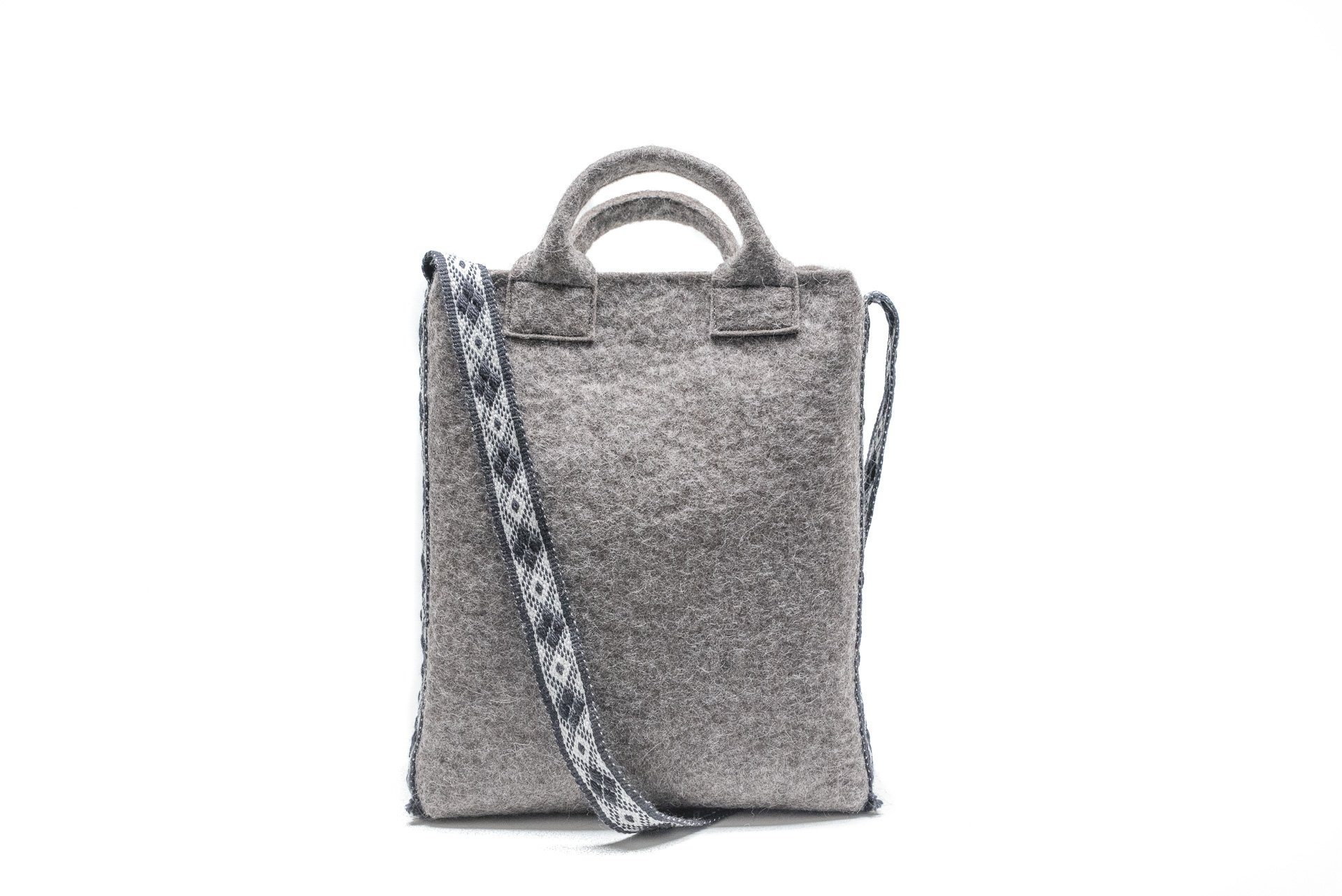 Felted tote bag - vertical - with handwoven crossbody strap- handmade in Finnish Lapland from Finnish wool - handmade-bags