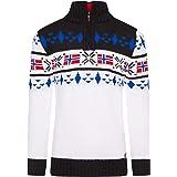 para Navidad cuello alto invierno estilo noruego Crazy Age Jersey de punto para hombre dise/ño de animales de carreras