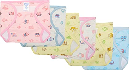 Super Baby Inside Cotton & Outside Pvc Waterproof Diaper with Hook and Loop Fastener (6-9 Months, Multicolour) - Pack of 6