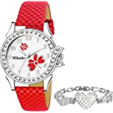 Mikado Butterfly Bracelet Design Girl's Analog Watch (Red)