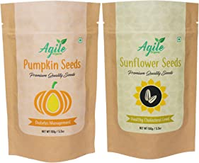 Agile Organic Raw Pumpkin Seeds 150g and Raw Sunflower Seeds 150g Combo, 300g