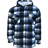 Mens Padded Shirts Lumberjack Hooded Flannel Check Jacket Thick Quilted Work Wear Warm Thermal Fleece Fur Lined Top Casual Co