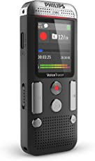 Philips DVT2510 Digital Voicetracer Audio Recorder, Digital Notes Recording, 8Gb, Colour Display, 2 Stereo Microphones, Anthracite/Chrome