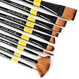 Artist's Den Hobby Essential Synthetic Hair Mix Brushes Set for Acrylic, Watercolor, Gouache & Oil Painting (Set of 10 Mix)
