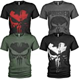 Pack of 4 Men's T-Shirt The Punisher with Front Print and Crew Neck