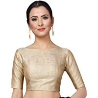 STUDIO Shringaar Women's Polyester Solid Elbow Length Sleeve Saree Blouse