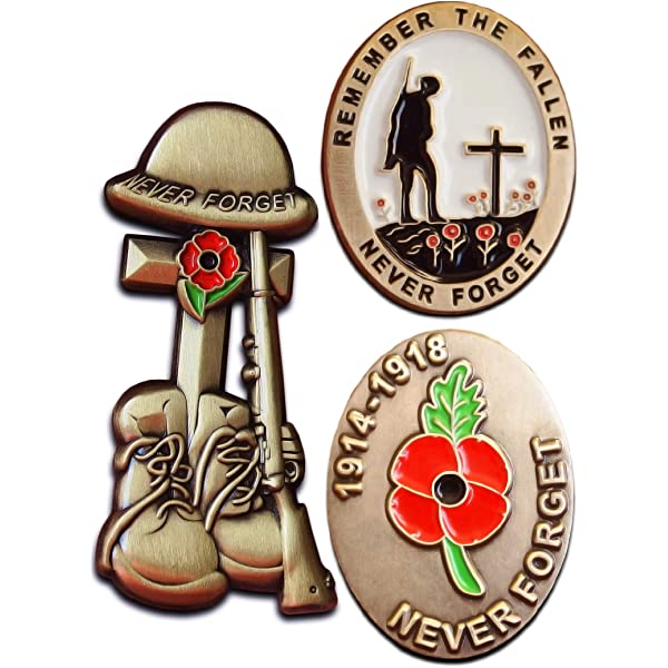 UK Military Veteran Gun Boot Helmet World War Red Poppy Enamel Pin Badge Brooch