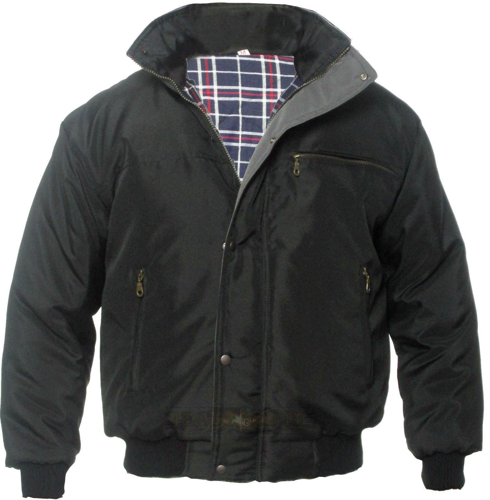 Men's Sky Diver Bomber Warm Padded Jacket Check Lined Work Winter Coat Black