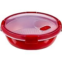 CURVER   Cuit vapeur Smart micro-ondes rond 1L, Rouge, 19,8 x 19,8 x 8,1 cm, Plastique