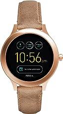 Fossil Damen Smartwatch Q Venture 3. Generation - Leder - Sand – Moderne Smartwatch mit Lederarmband im Vintage Design – Für Android & IOS