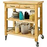 SoBuy szafka kuchenna stojąca na kółkach wyspa kuchenna na kółkach,Naturalny,FKW24-N