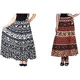 Modern Kart Women Maxi Skirt (Pack of 2) (MKSKT_32_Multicolored_Free Size)