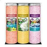 Nortembio Sels d'Epsom Pack 3 x 430 g. Fragances de Cannelle, Jasmin, Roses. Hydratés avec de la Vitamine C et E. Sels de Bai