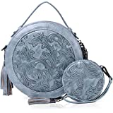 MEITRUE Runde Handtasche Damen Kreis Tasche PU Leder Elegante Frauen Crossbody Bag RetroTop Griff Schultertasche Schicke Clut