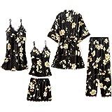 Danfiki Pyjama Set Women Sleepwear Girls Ladies Nightwear Silk Satin Pajamas Lace Floral Nighties 5Pcs Robe Dressing Gown Nig