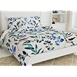 haus & kinder Divine Floral Art 100% Cotton Double Bedsheet with 2 Pillow Covers 186 TC (Green)