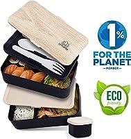 Umami® ⭐ Brotdose Schwarz Bamboo | Lunchbox Mit 2 Luftdichten Fächern Inklusive 3-Teiligem, Robusten Besteck &...