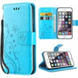 iDoer für iPhone 6S Solide Butterfly PU Ledercase Tasche Hülle Schutzhülle Flip Case Magnetverschluss Handyhülle im…