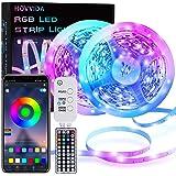 LED Strip, HOVVIDA 20M Bluetooth LED Streifen RGB 5050 12V, Wird von APP, IR-Fernbedienung und Controller Gesteuert, LED lich