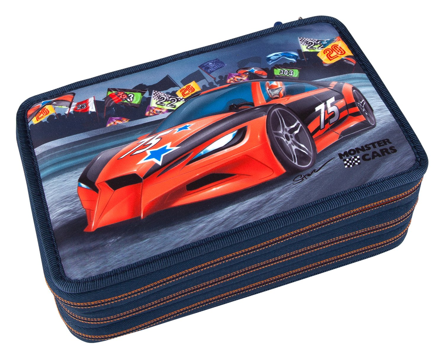 Monster Cars 8218 – Estuche Escolar con 3 Compartimentos, Multicolor