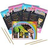 HellDoler Manualidades para Niños,Manualidades para Rascar Scratch Art 4 Cuadernos para Dibujar Papel de Rascar Incluye 4 Láp