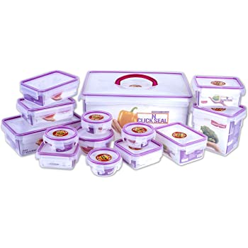 Princeware Plastic Click N Seal Packaging Container, Set of 14,Purple/Transparent