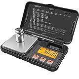 GPISEN Báscula Digitales de Precisión,Balanzas de Portátiles, Báscula de Joyería,con Pantalla LCD,Acompañado por 50g Peso de