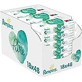 Pampers Aqua Pure Billendoekjes, 864 Babydoekjes (18 x 48 Doekjes), Gemaakt met 99% Puur Water + Biologisch Katoen, Dermatolo