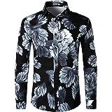PARKLEES Men's Hipster Urban Design Polyester 3D Printed Slim Fit Long Sleeve Button Up Dress Shirts
