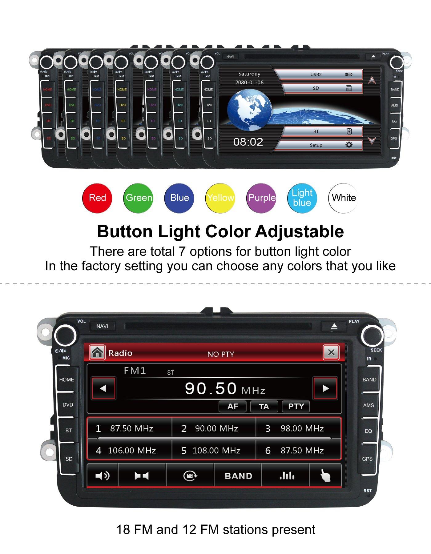 Yingly-8-Zoll-2-Din-Autoradio-fr-VW-Golf-Skoda-Seat-mit-Wince-System-DVD-Player-GPS-Navigation-FM-AM-Radio-Bluetooth-USB-SD-untersttzt-Park-Kamera-Lenkrad-Bedienung-1080P-Video-8GB-Kartenmaterial