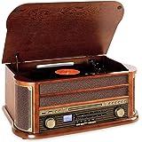 AUNA Belle Epoque 1908 - Impianto Stereo retrò, Giradischi, Bluetooth, Radio AM/FM, Display Banda di Frequenza, USB, Lettore CD e Cassette, Marrone