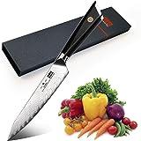 SHAN ZU Couteau Universel 15 cm, Couteau de Cuisine Damas en Acier AUS-10 Japonais, Couteau de Chef de 6 Pouces, Couteau Dama