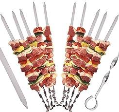 STAR-LINE 24 Grillspieße Schaschlikspieße aus Edelstahl 40cm | Fleischspieße für BBQ & Grill | Kebab Spieße | Schampura für Mangal