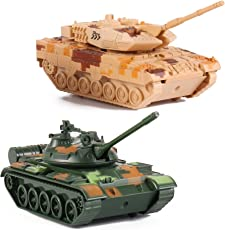 T-55 Diecast Metal Military Pullback Model Battle Tanks with Lights and Sound (2-Pack)