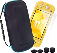 Switch Lite Case with Screen Protector and Thumb grips,Big space EVA hard travel bag/organizer/protector kit for Nintendo Sw