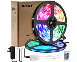 Led Strip Lights 10M, WEILY Waterproof Led Strip Lights 5050 RGB Color Changing Led Light Strip with 24-Key IR Remote for Bed
